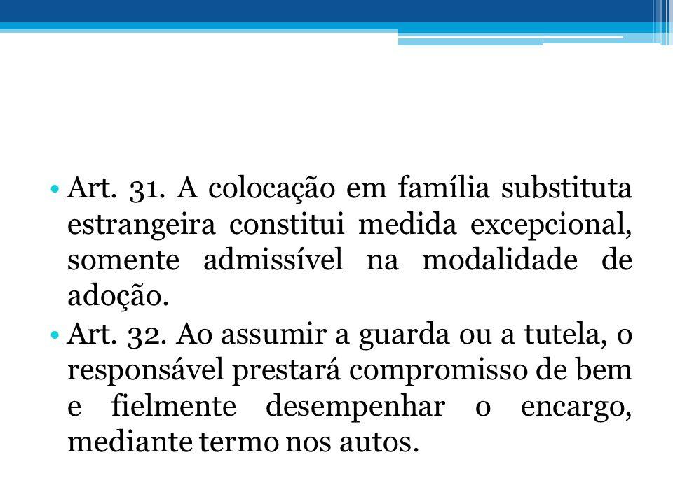 Art. 31. A colocação em família substituta estrangeira constitui medida excepcional, somente admissível na modalidade de adoção.
