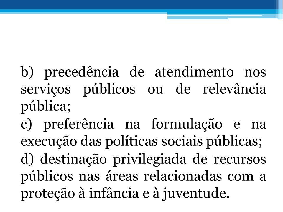 b) precedência de atendimento nos serviços públicos ou de relevância pública; c) preferência na formulação e na execução das políticas sociais públicas; d) destinação privilegiada de recursos públicos nas áreas relacionadas com a proteção à infância e à juventude.