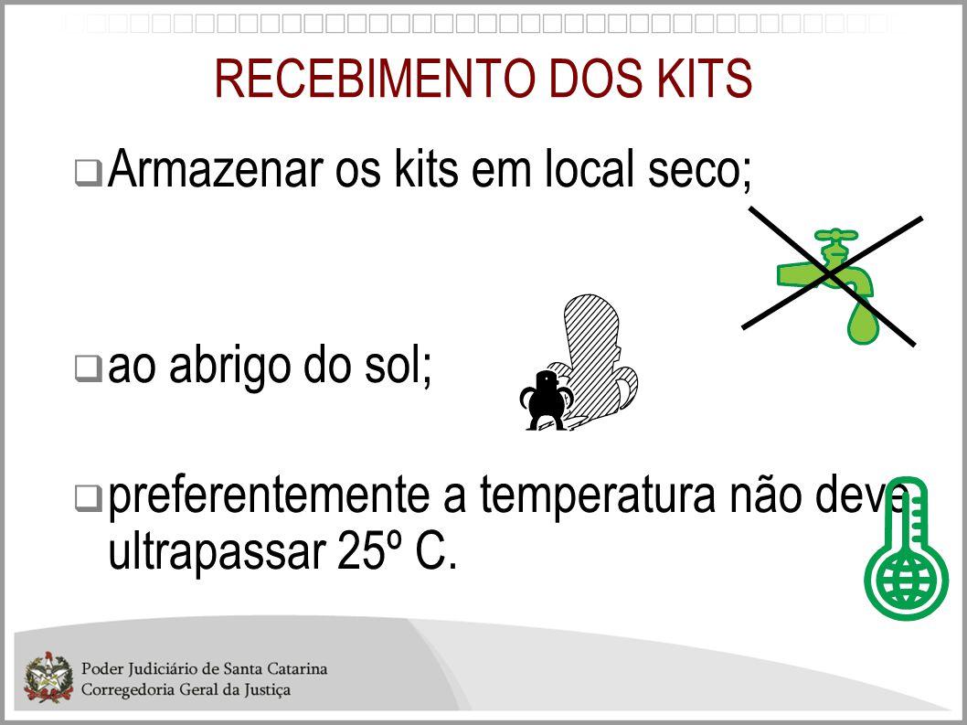 RECEBIMENTO DOS KITS Armazenar os kits em local seco; ao abrigo do sol; preferentemente a temperatura não deve ultrapassar 25º C.