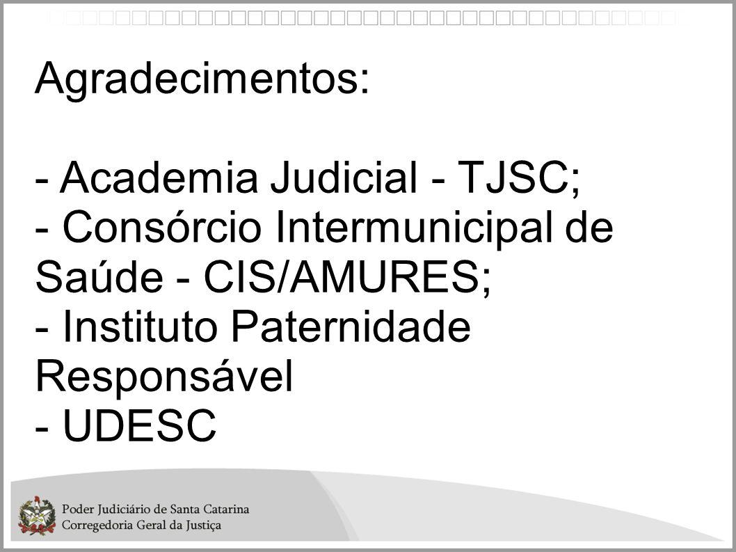 Agradecimentos: - Academia Judicial - TJSC; - Consórcio Intermunicipal de Saúde - CIS/AMURES; - Instituto Paternidade Responsável.