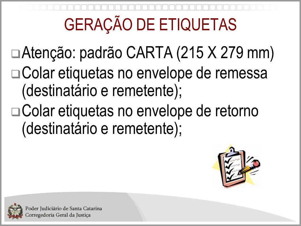 GERAÇÃO DE ETIQUETAS Atenção: padrão CARTA (215 X 279 mm) Colar etiquetas no envelope de remessa (destinatário e remetente);