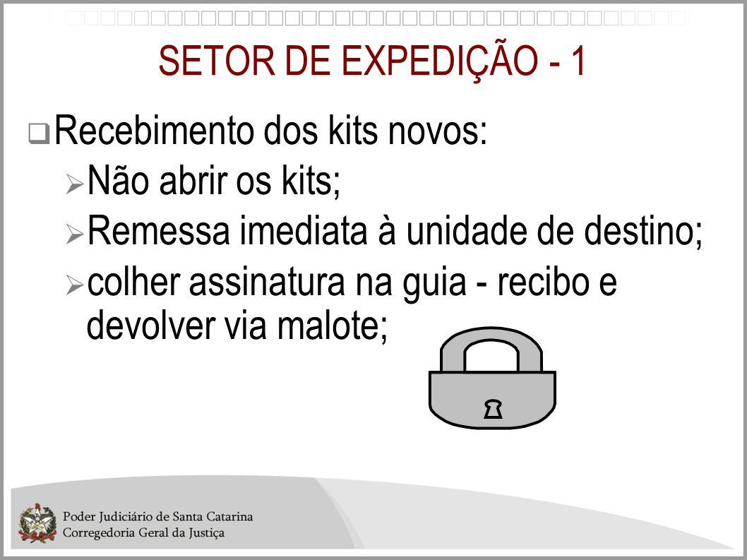 SETOR DE EXPEDIÇÃO - 1 Recebimento dos kits novos: Não abrir os kits; Remessa imediata à unidade de destino;