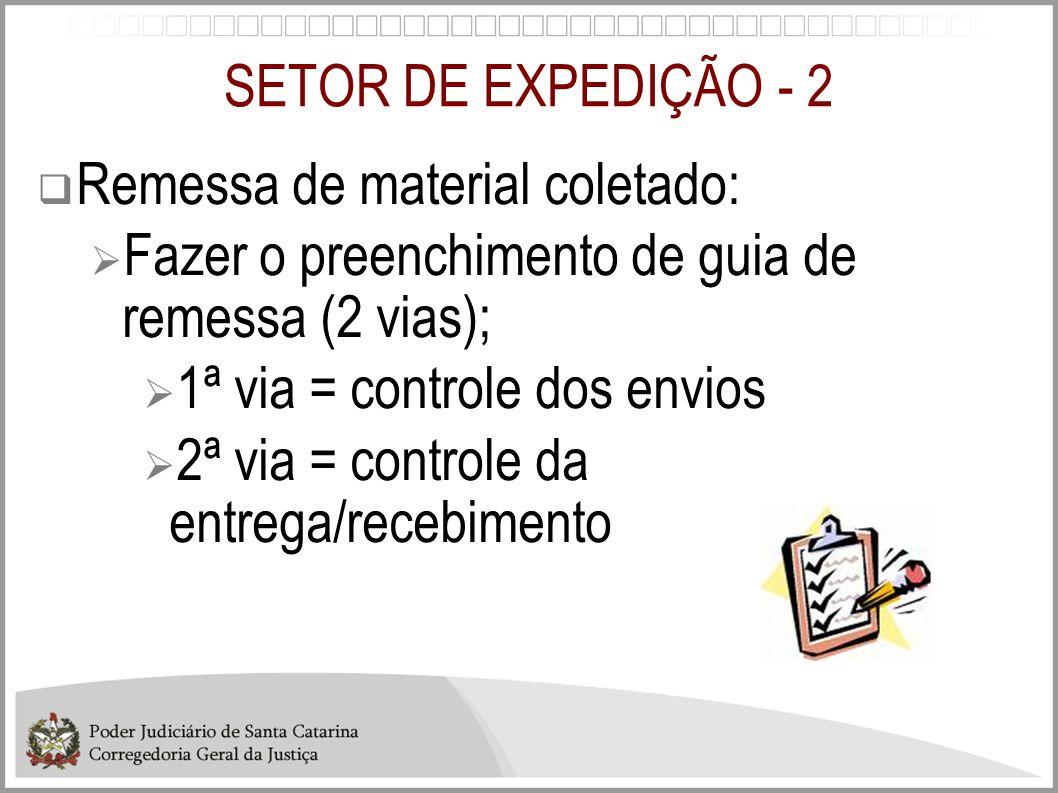SETOR DE EXPEDIÇÃO - 2 Remessa de material coletado: Fazer o preenchimento de guia de remessa (2 vias);