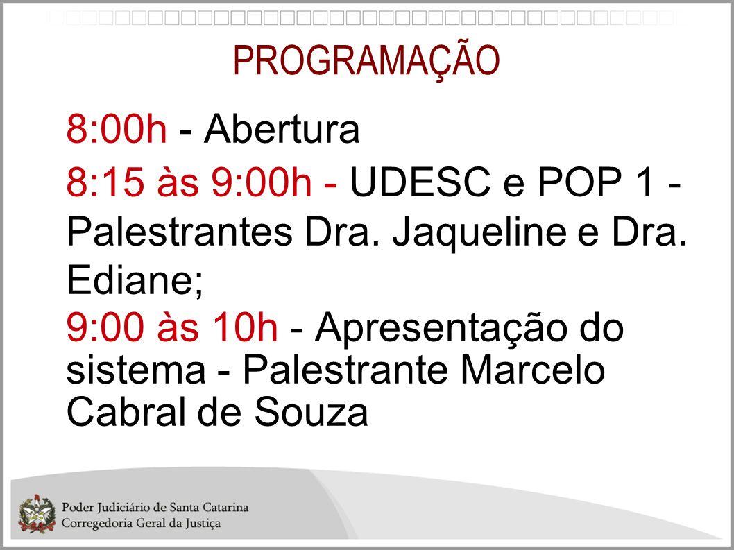 PROGRAMAÇÃO 8:00h - Abertura. 8:15 às 9:00h - UDESC e POP 1 - Palestrantes Dra. Jaqueline e Dra. Ediane;