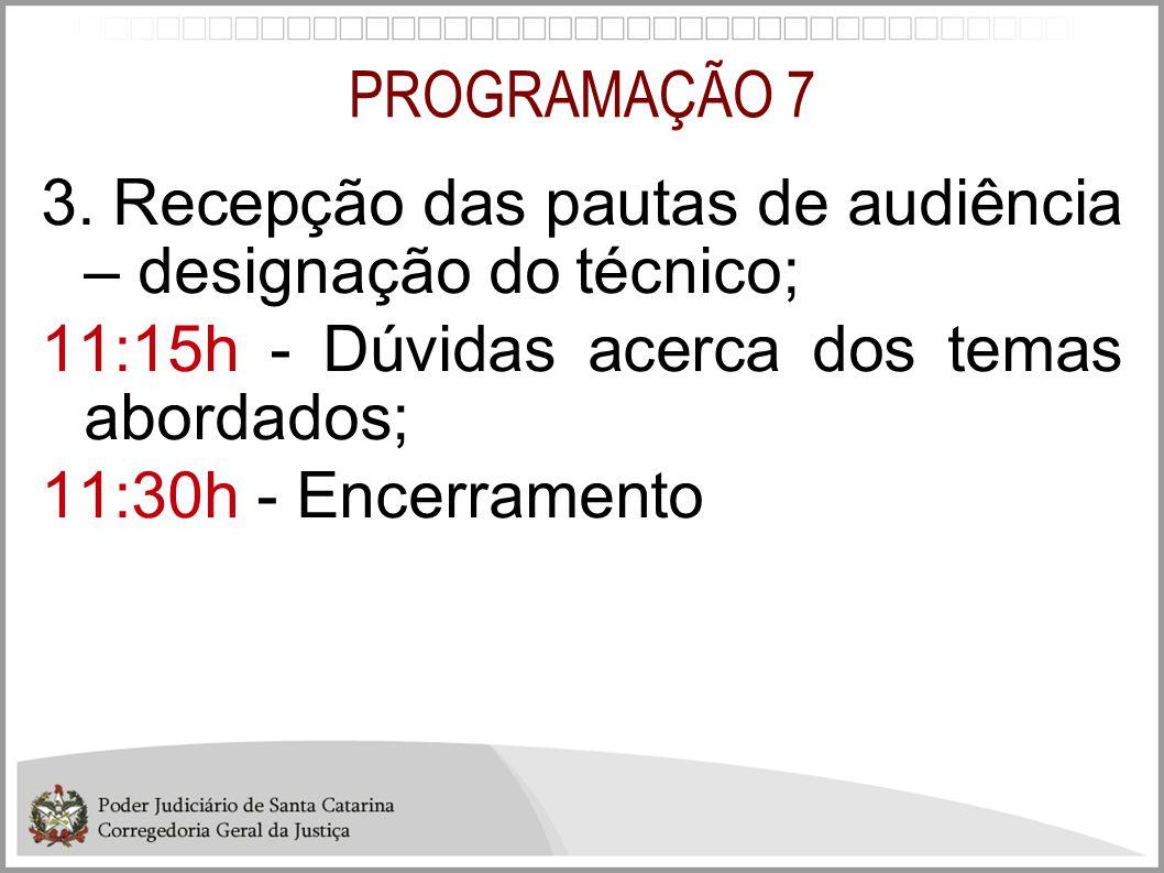 PROGRAMAÇÃO 7 3. Recepção das pautas de audiência – designação do técnico; 11:15h - Dúvidas acerca dos temas abordados;