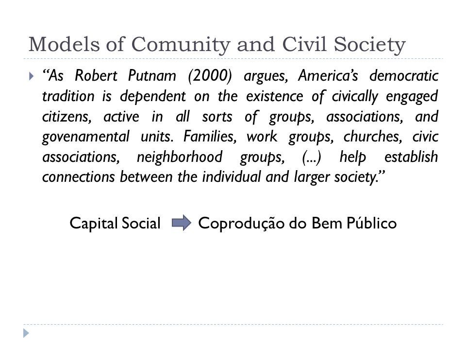 Models of Comunity and Civil Society