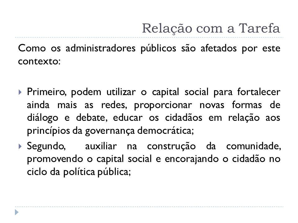 Relação com a Tarefa Como os administradores públicos são afetados por este contexto: