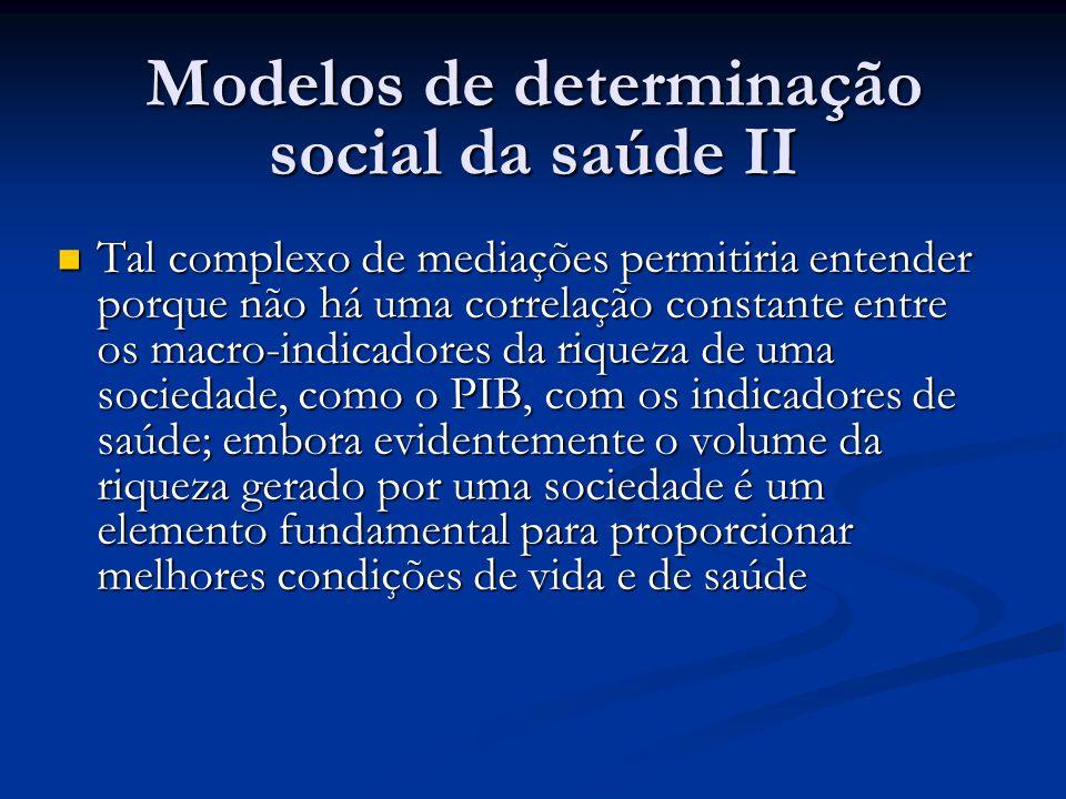 Modelos de determinação social da saúde II
