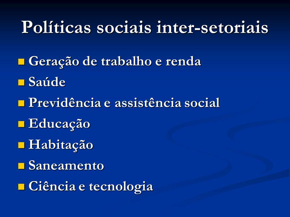 Políticas sociais inter-setoriais
