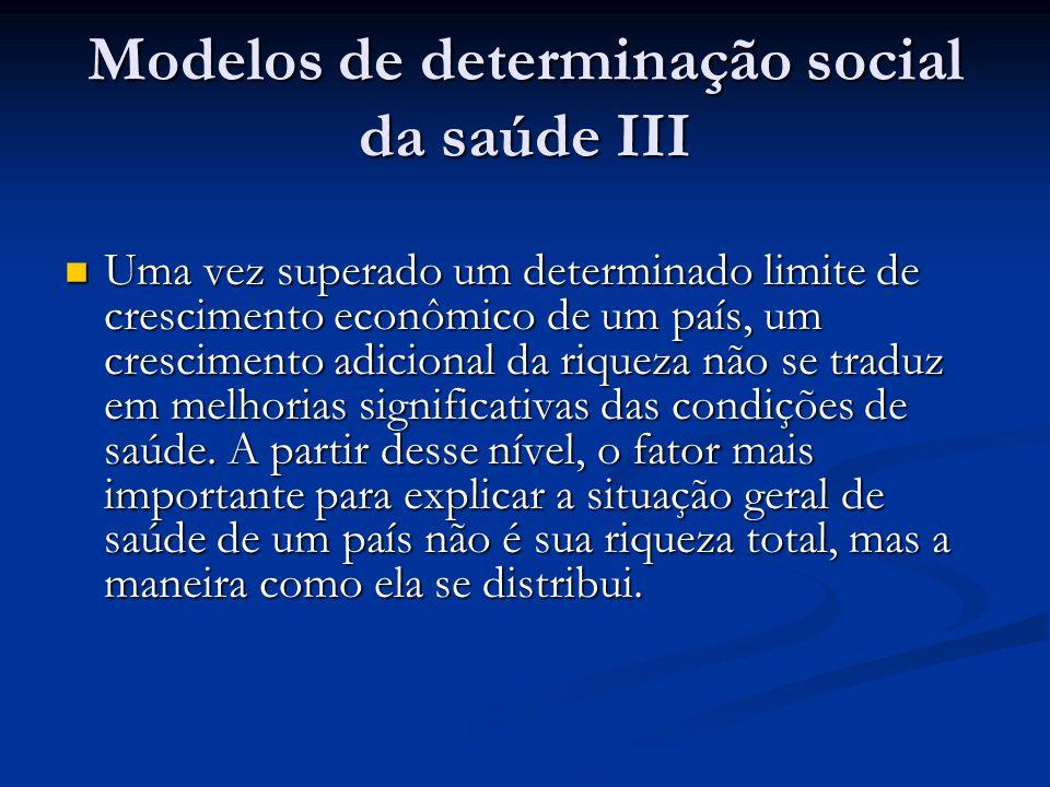 Modelos de determinação social da saúde III