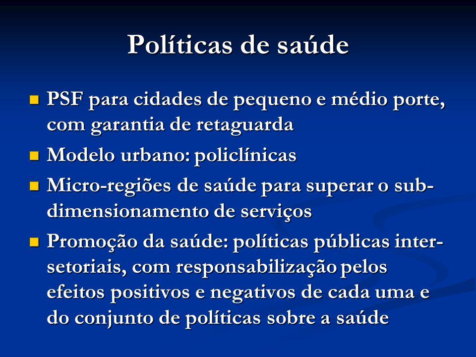 Políticas de saúde PSF para cidades de pequeno e médio porte, com garantia de retaguarda. Modelo urbano: policlínicas.