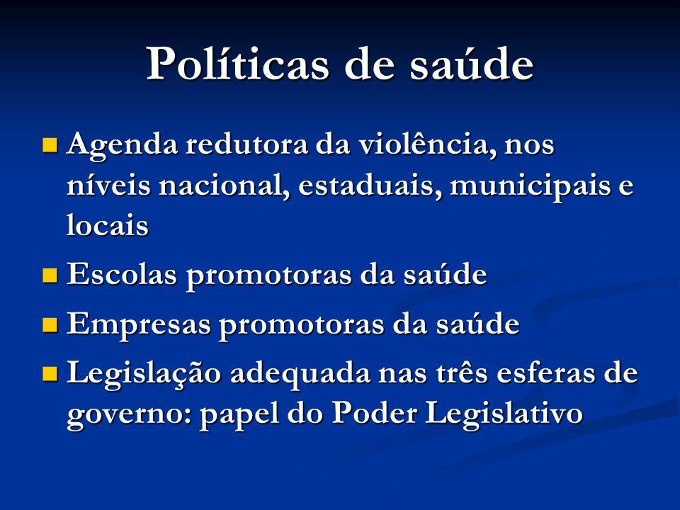 Políticas de saúde Agenda redutora da violência, nos níveis nacional, estaduais, municipais e locais.
