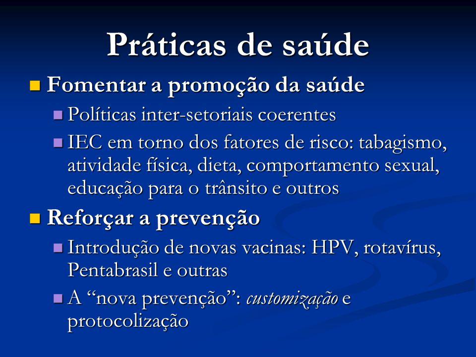 Práticas de saúde Fomentar a promoção da saúde Reforçar a prevenção