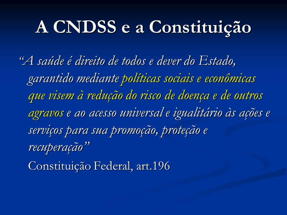 A CNDSS e a Constituição