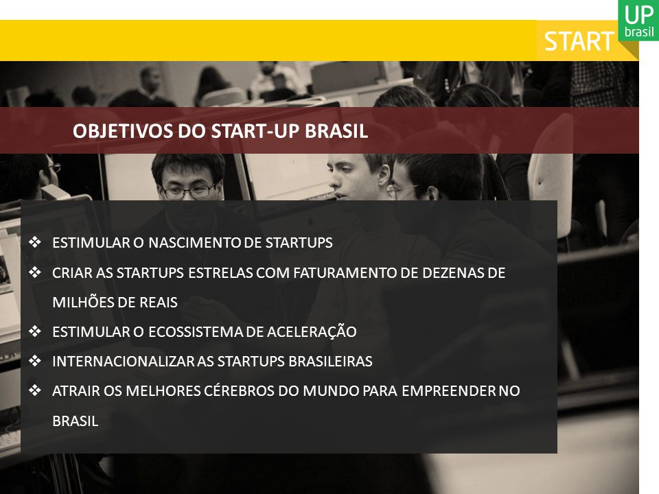 OBJETIVOS DO START-UP BRASIL
