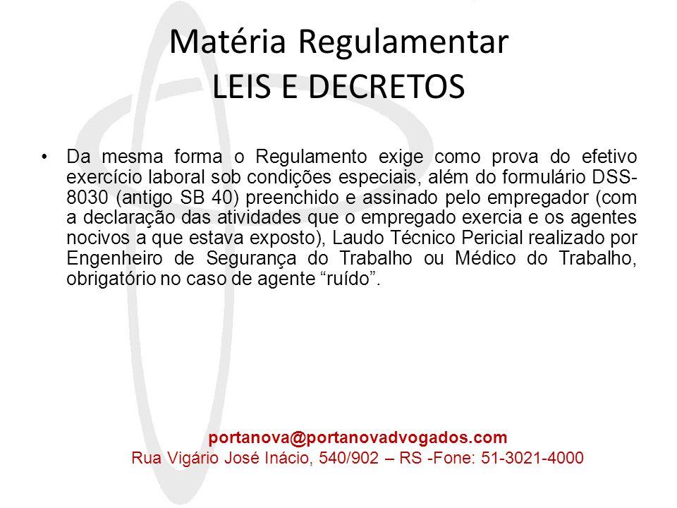 Matéria Regulamentar LEIS E DECRETOS