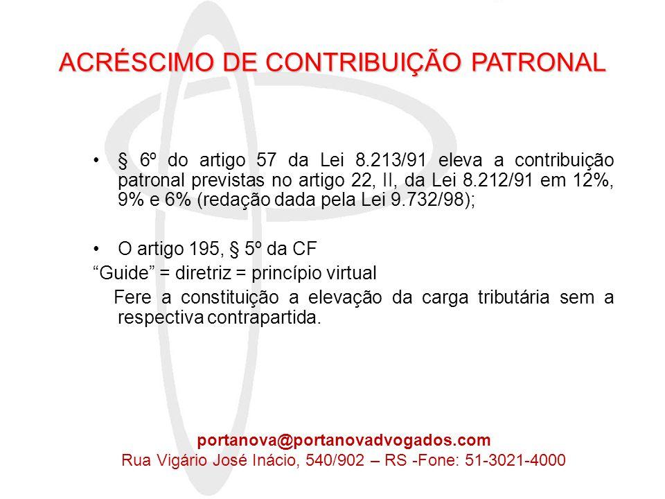 ACRÉSCIMO DE CONTRIBUIÇÃO PATRONAL