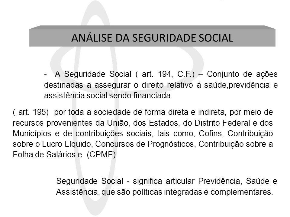 ANÁLISE DA SEGURIDADE SOCIAL