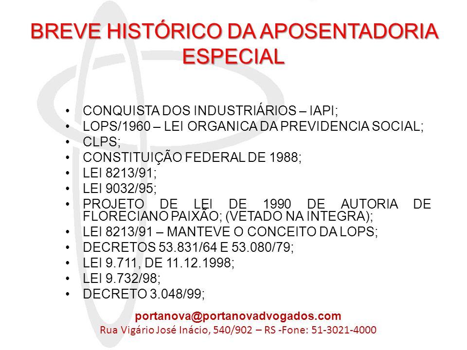 BREVE HISTÓRICO DA APOSENTADORIA ESPECIAL