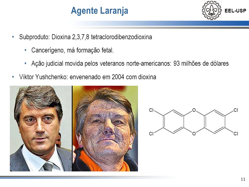 Agente Laranja Subproduto: Dioxina 2,3,7,8 tetraclorodibenzodioxina
