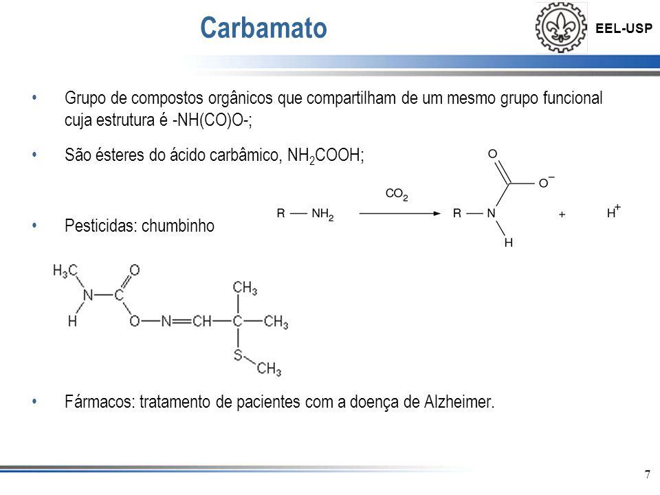 Carbamato Grupo de compostos orgânicos que compartilham de um mesmo grupo funcional cuja estrutura é -NH(CO)O-;