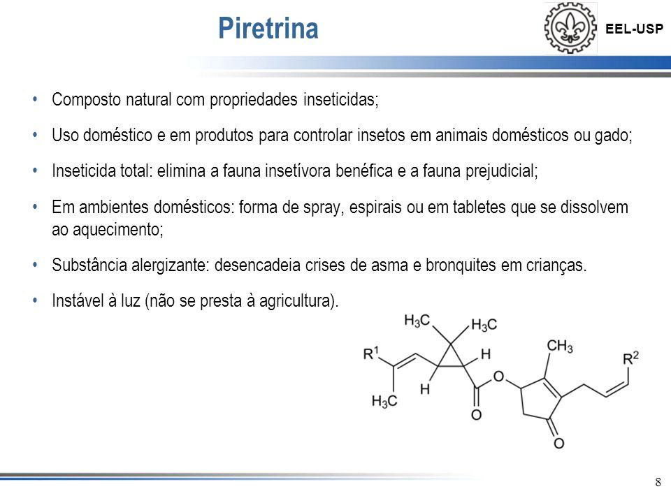 Piretrina Composto natural com propriedades inseticidas;