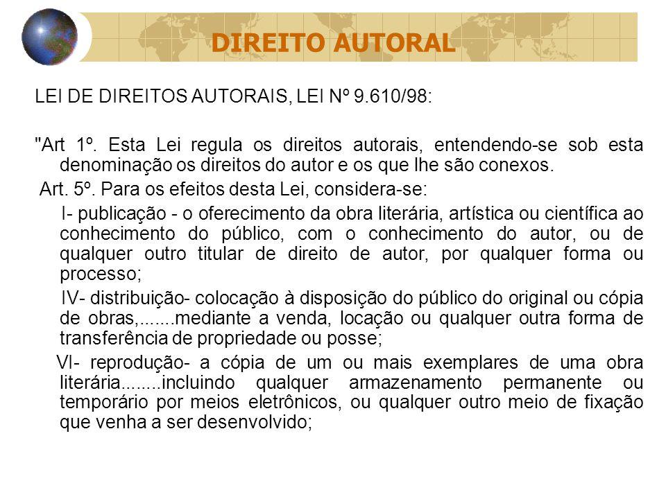 DIREITO AUTORAL LEI DE DIREITOS AUTORAIS, LEI Nº 9.610/98: