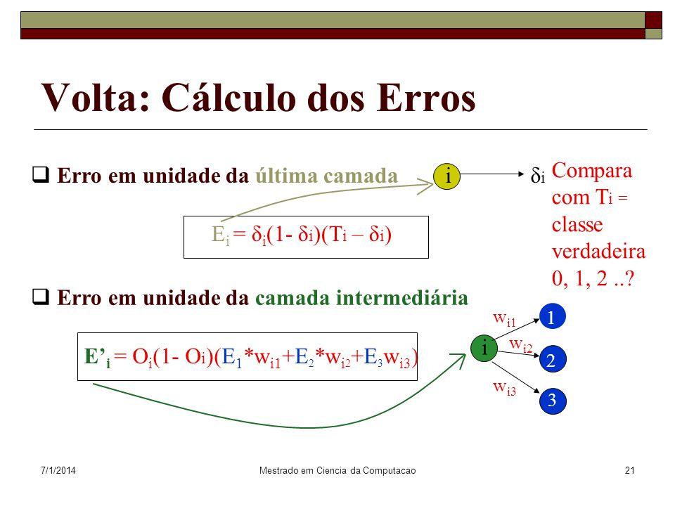 Volta: Cálculo dos Erros