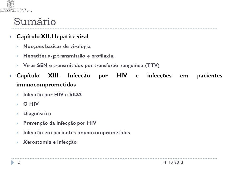 Sumário Capítulo XII. Hepatite viral