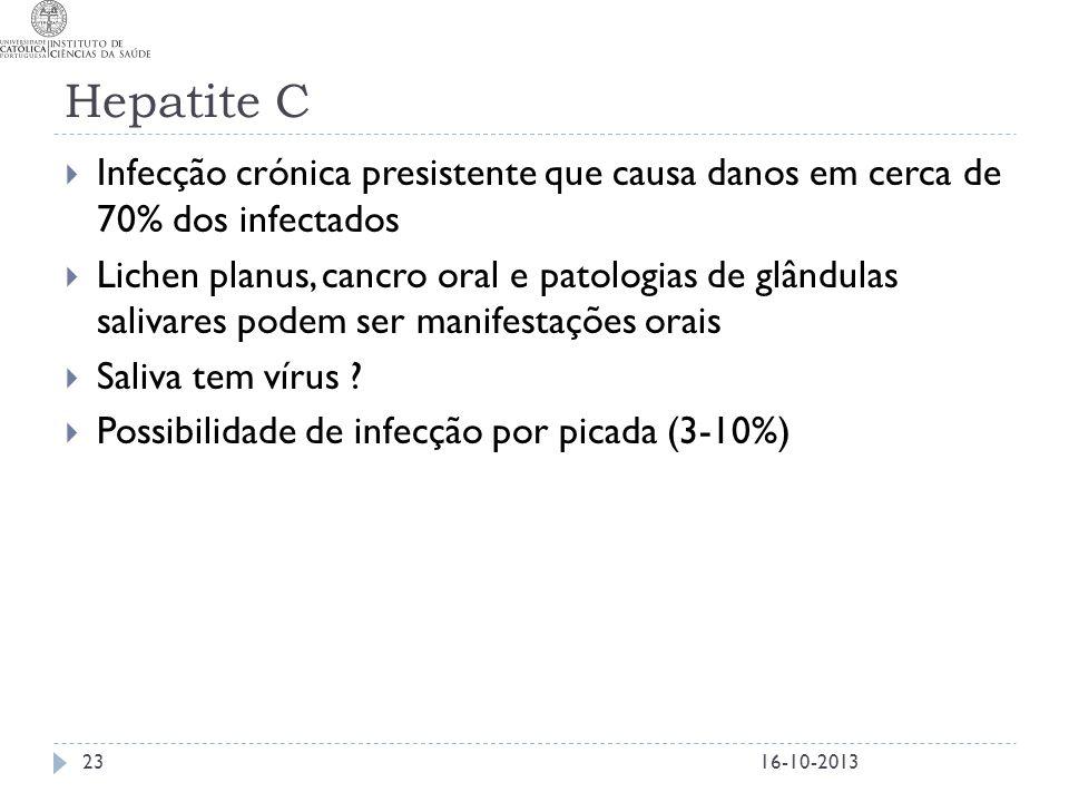 Hepatite C Infecção crónica presistente que causa danos em cerca de 70% dos infectados.