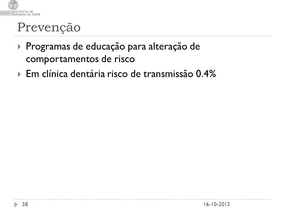 Prevenção Programas de educação para alteração de comportamentos de risco. Em clínica dentária risco de transmissão 0.4%