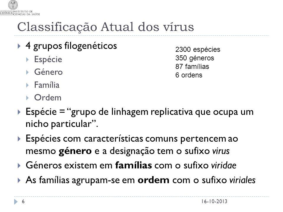 Classificação Atual dos vírus
