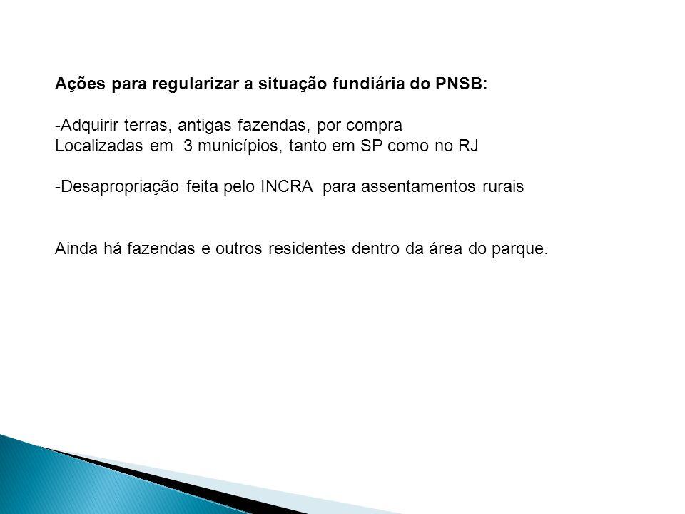 Ações para regularizar a situação fundiária do PNSB: