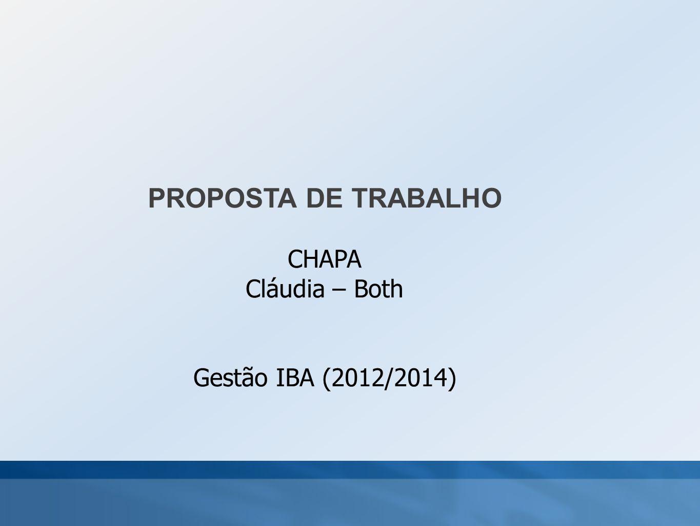 PROPOSTA DE TRABALHO CHAPA Cláudia – Both Gestão IBA (2012/2014)