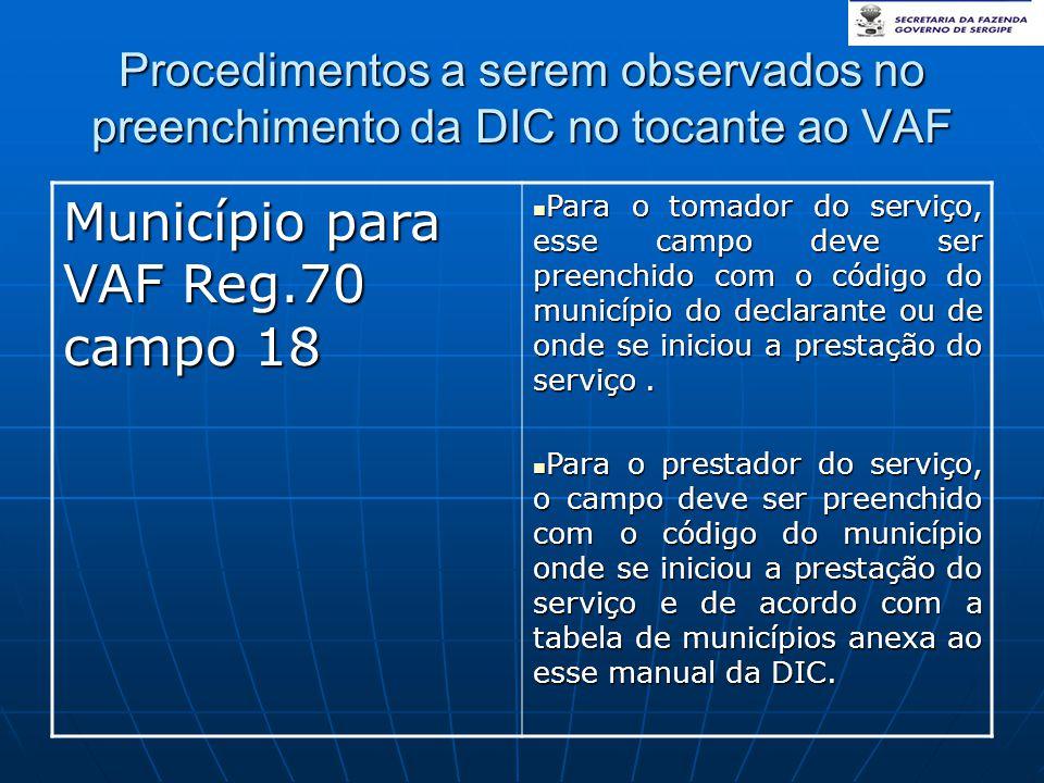 Município para VAF Reg.70 campo 18