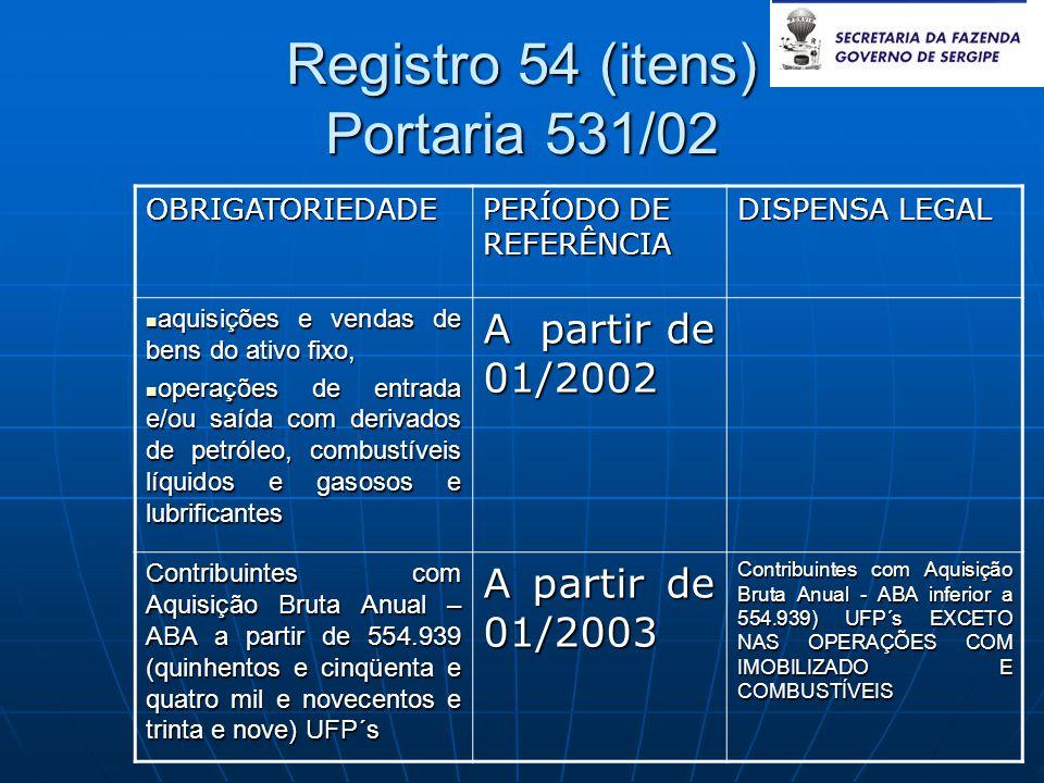 Registro 54 (itens) Portaria 531/02