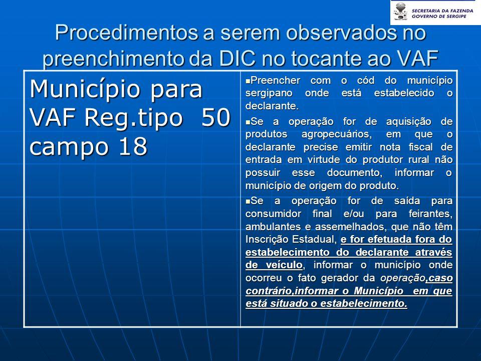 Município para VAF Reg.tipo 50 campo 18