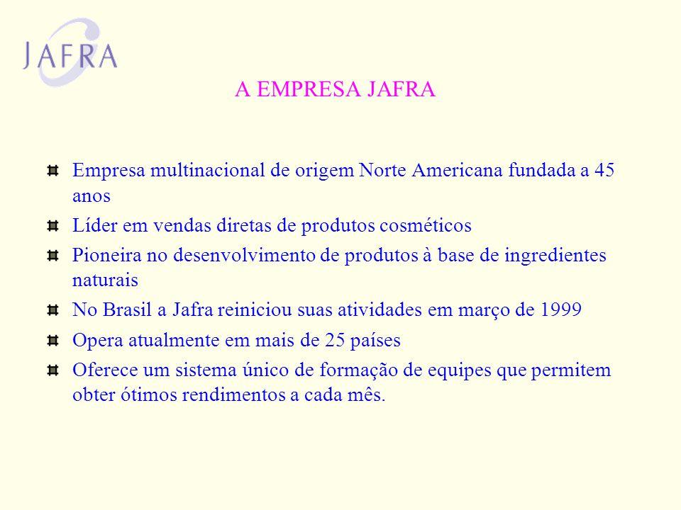 A EMPRESA JAFRA Empresa multinacional de origem Norte Americana fundada a 45 anos. Líder em vendas diretas de produtos cosméticos.