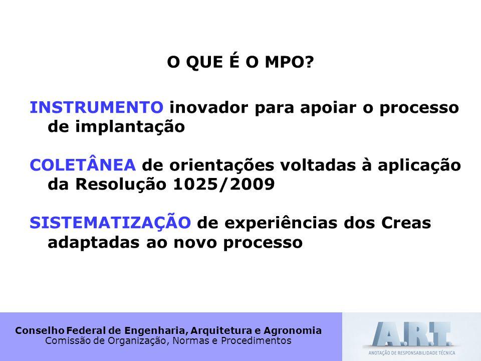 O QUE É O MPO INSTRUMENTO inovador para apoiar o processo de implantação. COLETÂNEA de orientações voltadas à aplicação da Resolução 1025/2009.