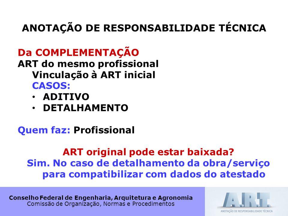 ANOTAÇÃO DE RESPONSABILIDADE TÉCNICA ART original pode estar baixada