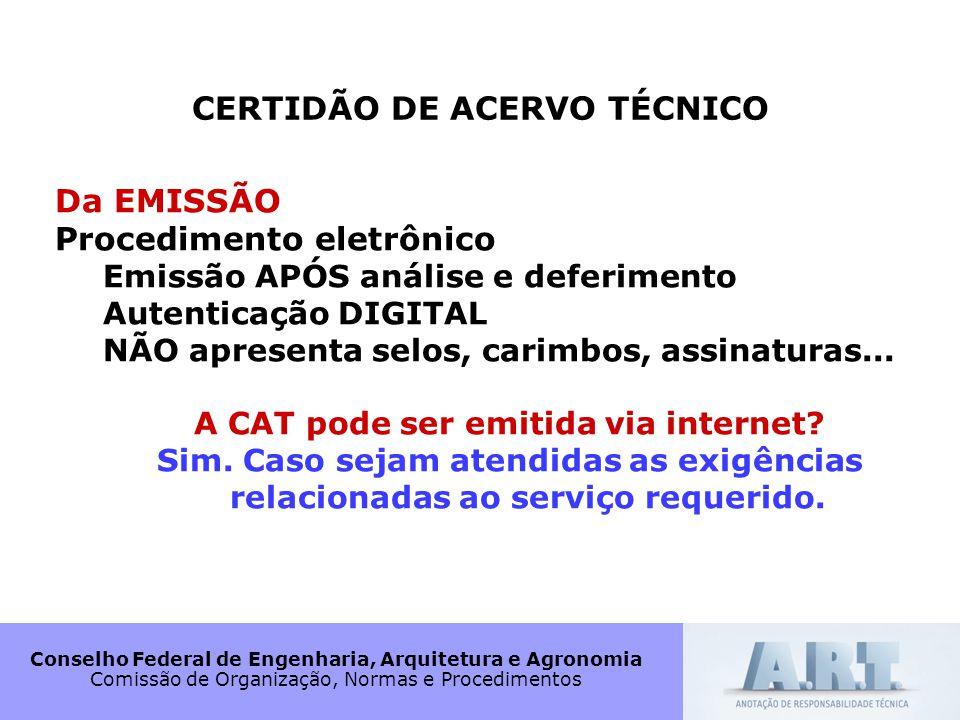 CERTIDÃO DE ACERVO TÉCNICO A CAT pode ser emitida via internet