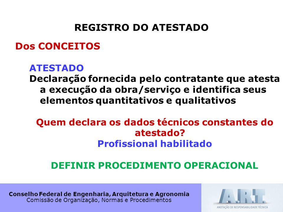 REGISTRO DO ATESTADO Dos CONCEITOS ATESTADO