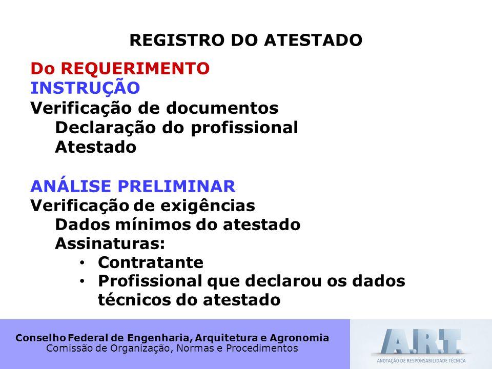 Verificação de documentos Declaração do profissional Atestado