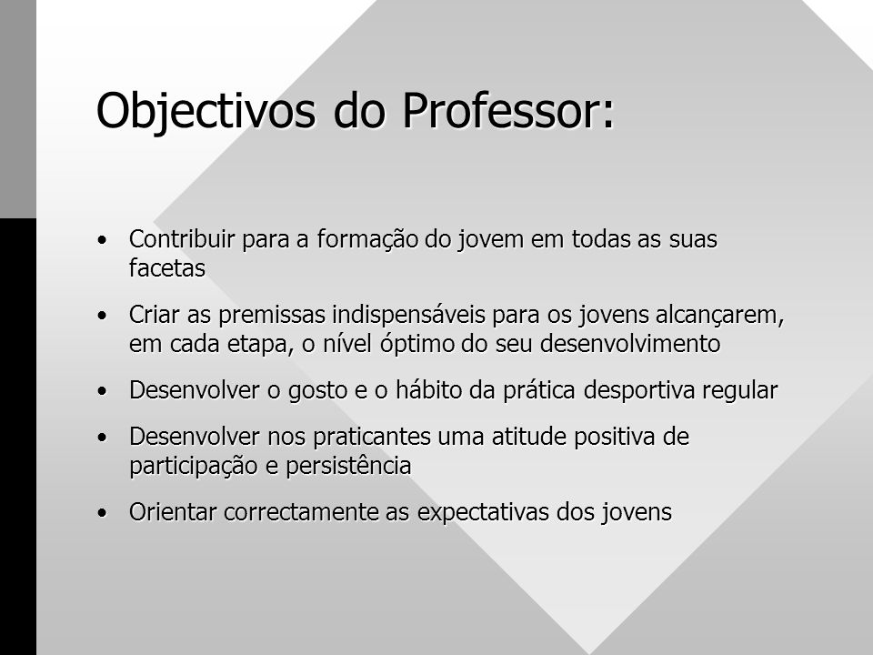 Objectivos do Professor: