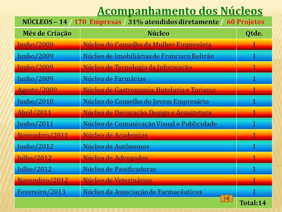 NÚCLEOS – 14 / 170 Empresas / 31% atendidos diretamente / 60 Projetos
