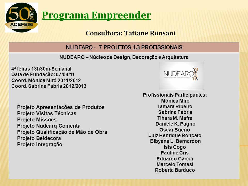 NUDEARQ - 7 PROJETOS 13 PROFISSIONAIS