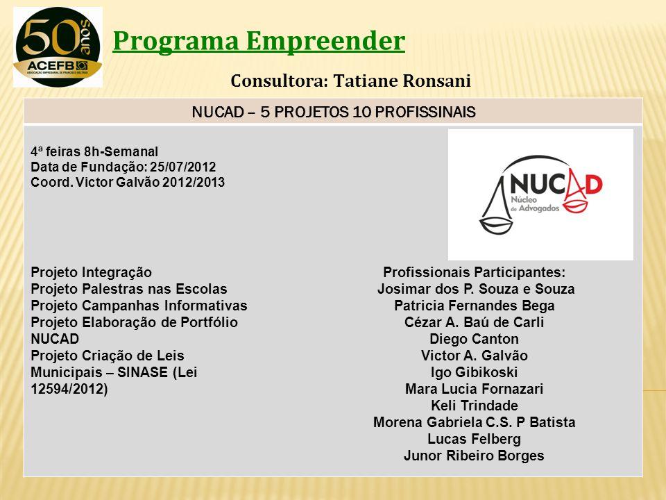 NUCAD – 5 PROJETOS 10 PROFISSINAIS Morena Gabriela C.S. P Batista