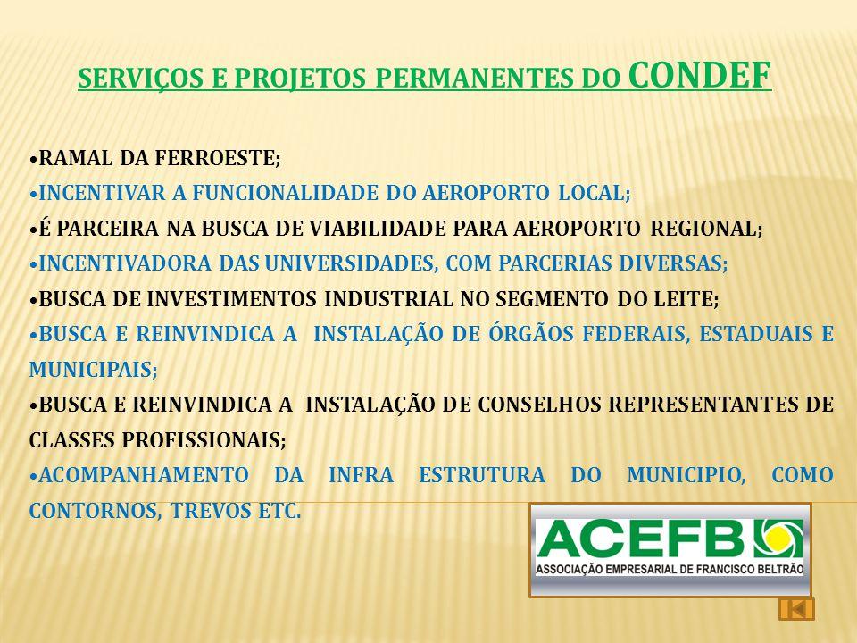 SERVIÇOS E PROJETOS PERMANENTES DO CONDEF