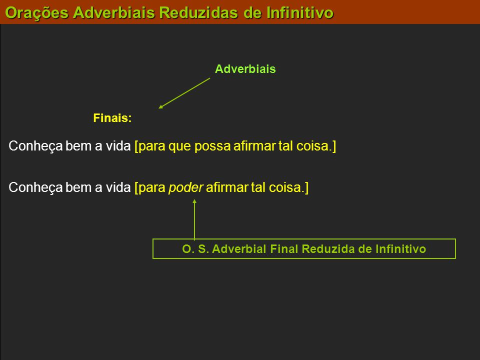 O. S. Adverbial Final Reduzida de Infinitivo
