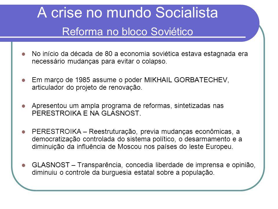 A crise no mundo Socialista Reforma no bloco Soviético
